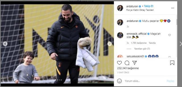 Arda Turan'ın oğlu Hamza Arda Turan babasıyla beraber antrenmana katıldı