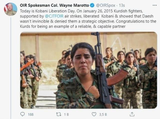 Cumhurbaşkanı Erdoğan'ın tepkisine rağmen ABD'li komutandan 'PKK ile kol kolayız' mesajı