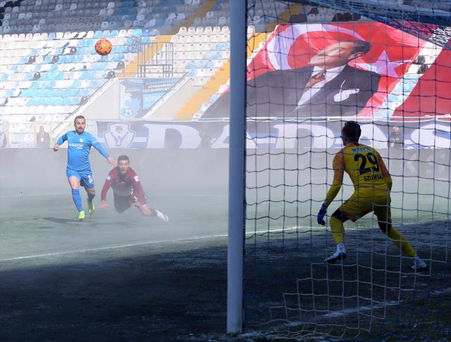 When the floor heating was activated in Erzurumspor-Hatayspor match, the field was covered with steam.
