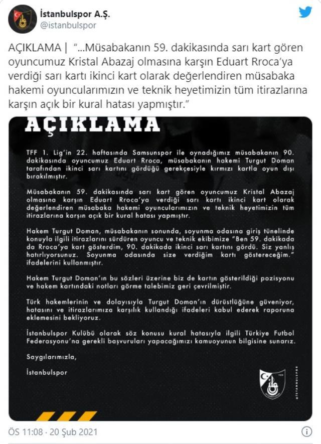İstanbulspor, Samsunspor maçında kural hatası yapıldığını iddia etti