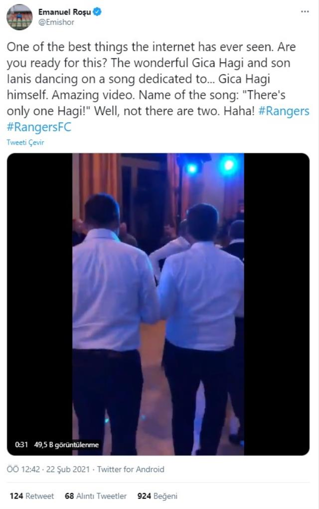 Galatasaray efsanesi George Hagi ve oğlu Ianis Hagi'nin dans ettiği görüntüler sosyal medyada beğeni topladı