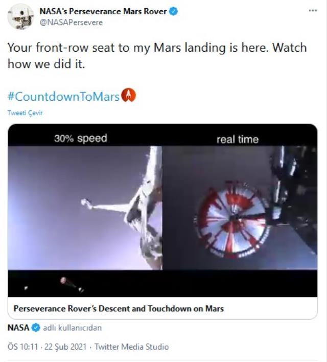 NASA releases footage of Perseverance's landing on Mars