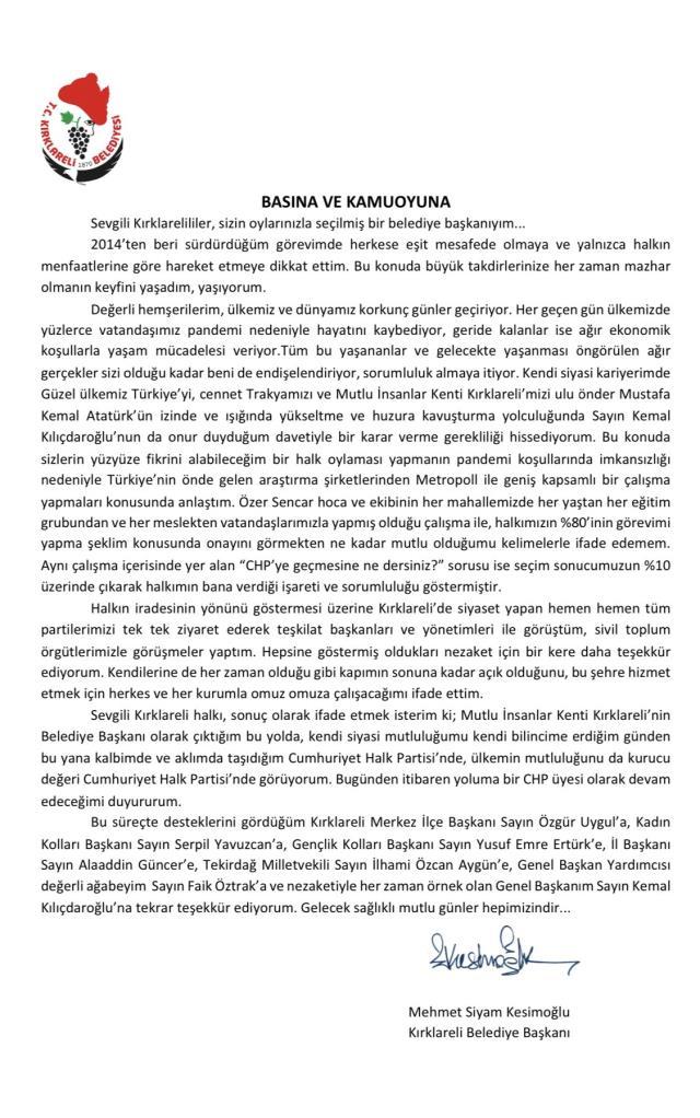 Kırklareli Belediye Başkanı Mehmet Siyam Kesimoğlu 2 yıl sonra CHP'ye geri döndü