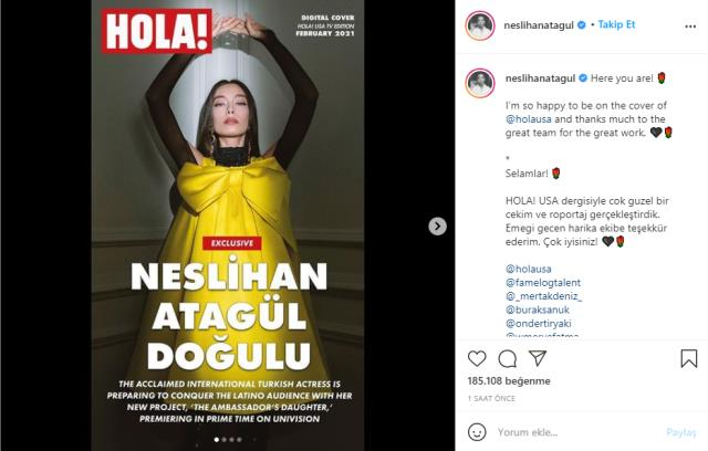 Ünü Türkiye sınırını aşan Neslihan Atagül, ABD'nin en çok okunan dergilerinden HOLA'ya kapak oldu