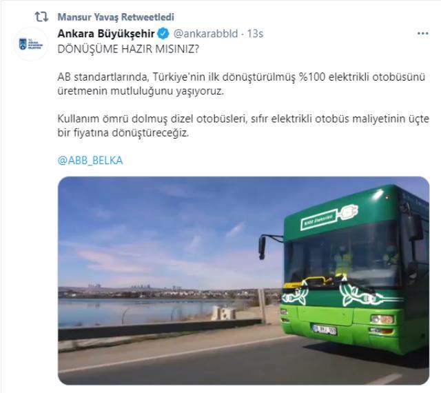 Ankara Büyükşehir Belediyesi'nin elektrikli otobüsü yola çıktı