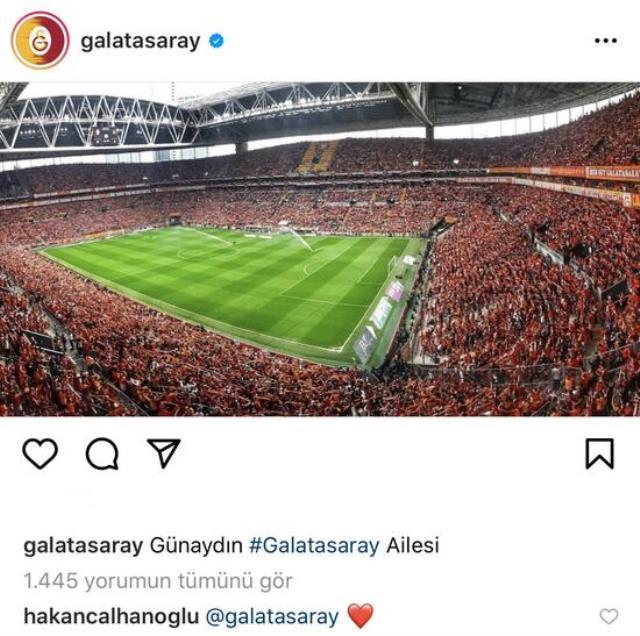 Hakan Çalhanoğlu left a red heart emoji by writing 'Galatasaray' under Galatasaray's Instagram post