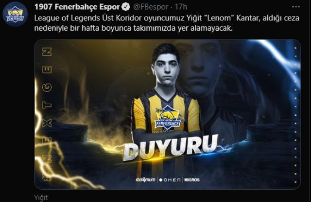 Riot Games, LoL Fenerbahçe Espor oyuncusu Lenom'u maçlardan men etti!