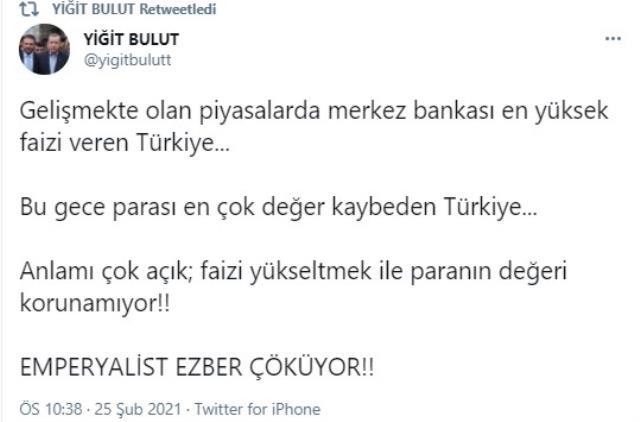Erdoğan'ın Başdanışmanı Yiğit Bulut'tan Merkez Bankası Başkanı'na yüksek faiz eleştirisi