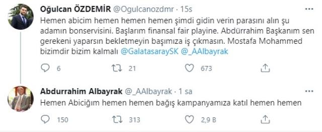 Abdurrahim Albayrak responded on social media to the fan who wanted Mohamed's testimonial to be taken immediately