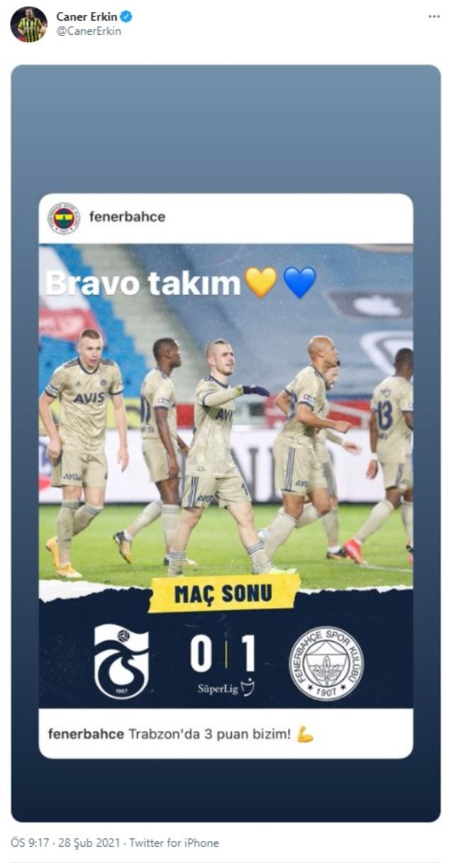 Caner Erkin congratulated his teammates on social media after Fenerbahçe won the Trabzonspor match