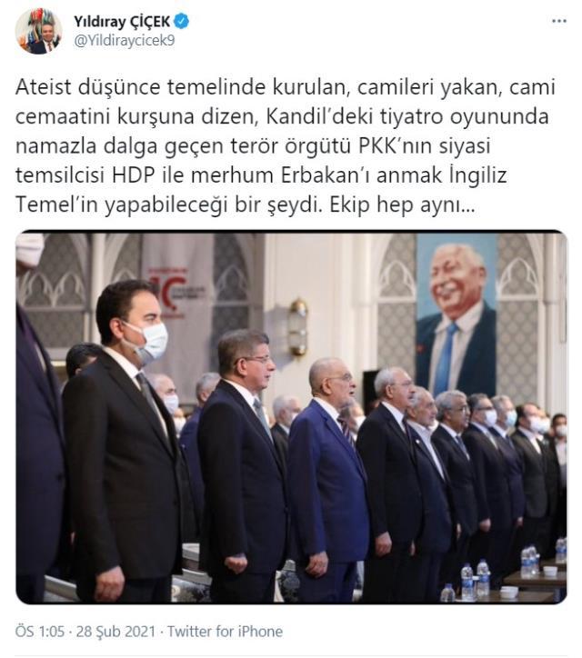 Bahçeli'nin danışmanından Erbakan anmasına sert tepki: HDP ile Erbakan'ı anmak İngiliz Temel'in yapabileceği bir şeydi