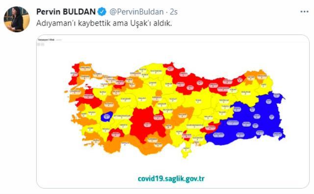 Bakan Koca'nın paylaştığı risk haritasını değerlendiren Pervin Buldan: Adıyaman'ı kaybettik ama Uşak'ı aldık
