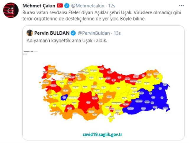 Buldan'ın Uşak paylaşımına belediye başkanından sert tepki: Virüslere olmadığı gibi terör örgütü destekçilerine de yer yok