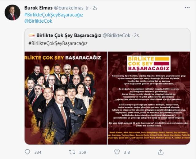 Galatasaray presidential candidate Burak Elmas announced his team with the slogan 'We will achieve a lot together'