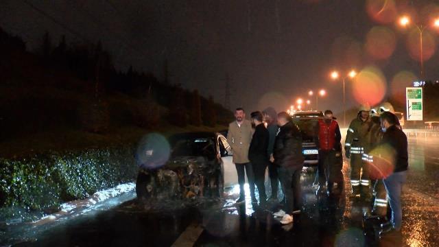Saatler önce aldığı lüks otomobil, içerisindeyken cayır cayır yandı