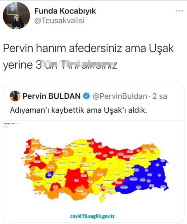 Uşak Valisi Funda Kocabıyık'ın HDP'li Pervin Buldan'a yönelik küfürlü paylaşımda bulunduğu iddiası