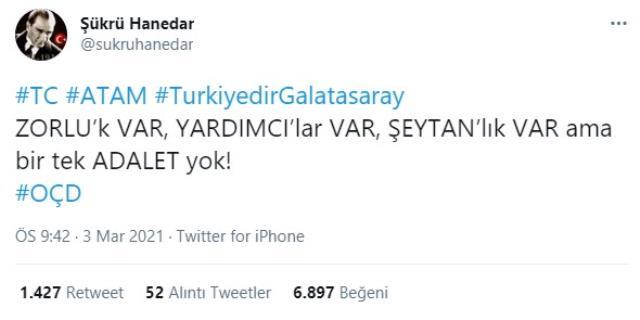 Galatasaray Administrative Director Şükrü Hanedar made a reference to Rıdvan Dilmen from social media.