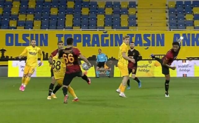 Penalty position marked in the first half of MKE Ankaragücü-Galatasaray match