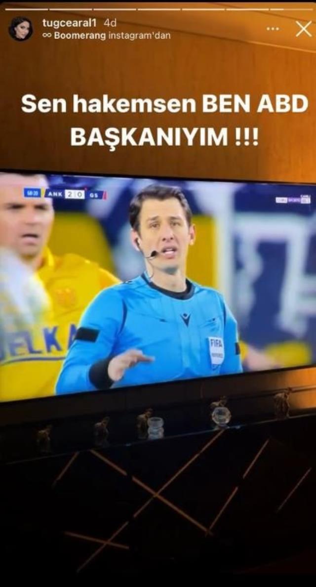 Galatasaraylı manken Tuğçe Aral, Ankaragücü maçı sonrası yaptığı paylaşımla sosyal medyaya damga vurdu