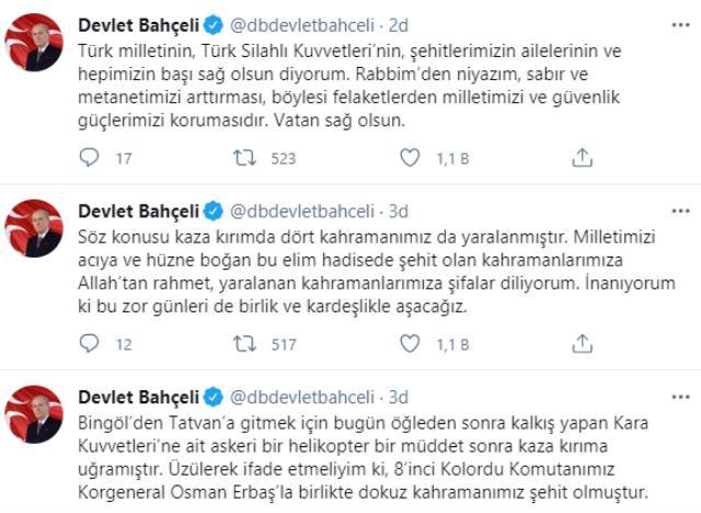 Türkiye evlatlarına ağlıyor! Yüreğimizi yakan kaza sonrası şehitler için başsağlığı mesajları yağdı
