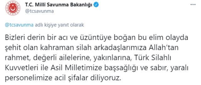Türkiye şehitlerine ağlıyor! Yüreğimizi yakan kaza sonrası başsağlığı mesajları geliyor