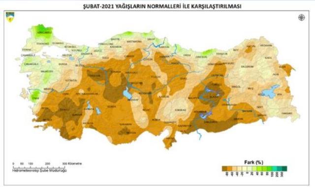 Meteoroloji harita paylaşarak duyurdu: Bazı bölgelerdeki yağış düşüşü yüzde 80'i aştı