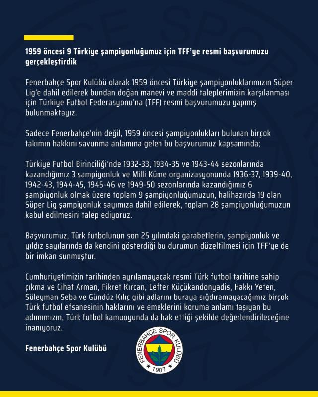 Fenerbahçe made the official application for 28 championships