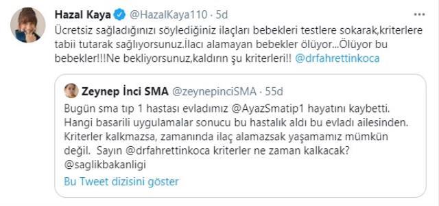 SMA hastası bebeğin ölüm haberini alan Hazal Kaya, Fahrettin Koca'ya sitem etti