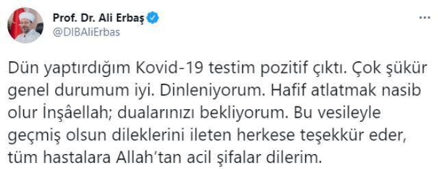 Son Dakika! Diyanet İşleri Başkanı Ali Erbaş'ın koronavirüs testi pozitif çıktı