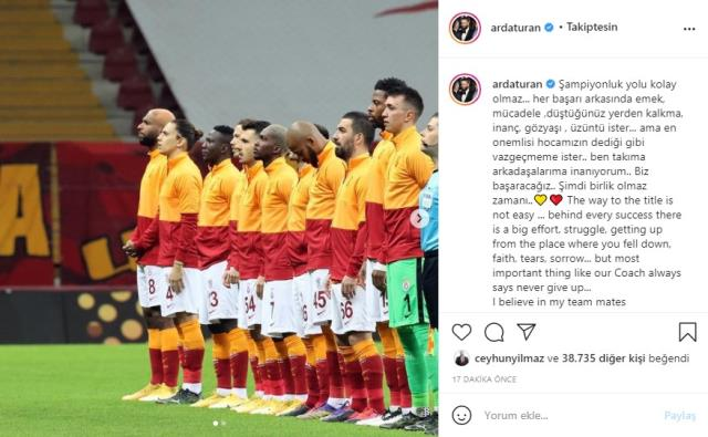 Arda Turan stated in his Instagram post that he believes Galatasaray will be the champion.