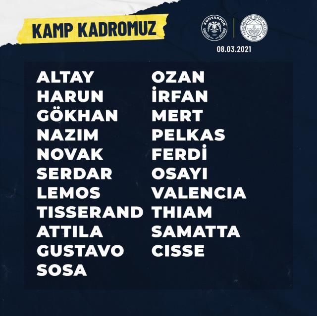 Luiz Gustavo, who was injured in Fenerbahçe, was taken to the camp squad of the Konyaspor match
