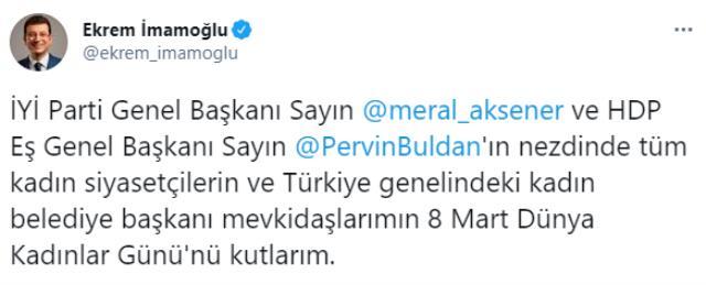 Ekrem İmamoğlu'nun Pervin Buldan'lı Kadınlar Günü paylaşımına tepki yağıyor