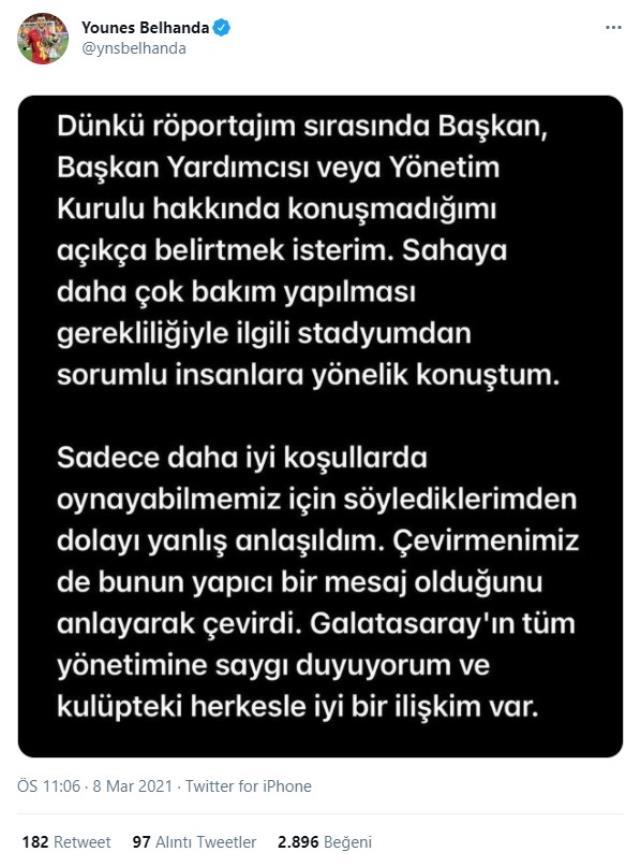 Belhanda in Galatasaray: I respect all management of Galatasaray