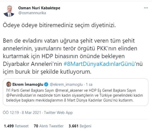 İmamoğlu'nun Kadınlar Günü paylaşımı İYİ Partili Ağıralioğlu'nu kızdırdı