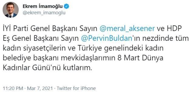 İmamoğlu'nun Kadınlar Günü paylaşımı İYİ Partili Ağıralioğlu'nun kızdırdı