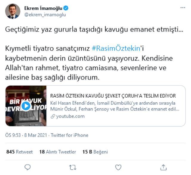 Rasim Öztekin'in vefatı siyaset, magazin ve iş dünyasını yasa yoğdu