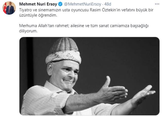 Rasim Öztekin'in vefatı siyaset, sanat ve iş dünyasını yasa yoğdu
