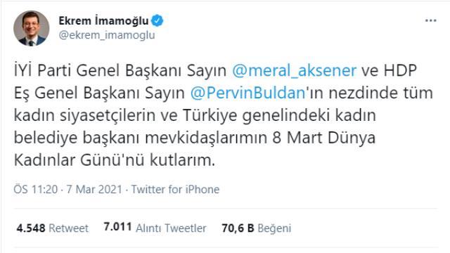 Son Dakika: Akşener'den İmamoğlu'nun Kadınlar Günü paylaşımına ilk yorum: Arkadaşlarımız beğenmedi, saygı duyuyorum