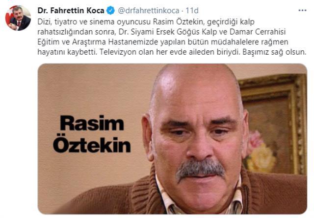 Son Dakika: Oyuncu Rasim Öztekin hayatını kaybetti