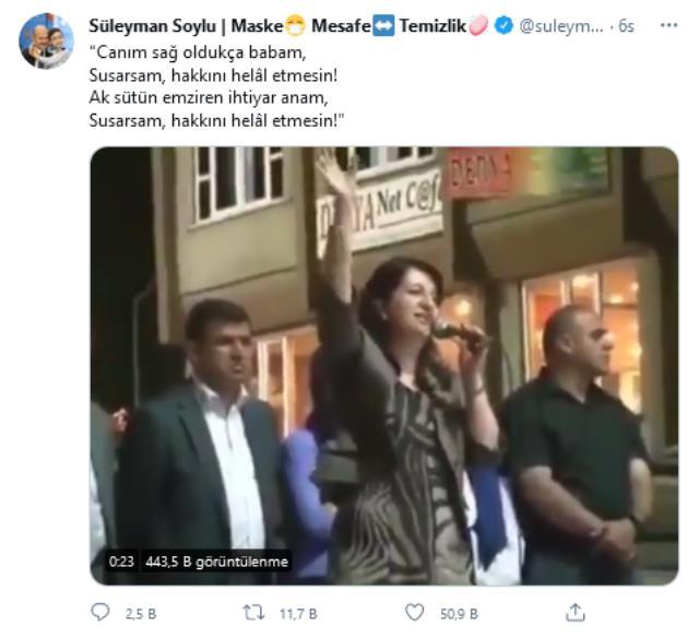 HDP'li Buldan'ın teröristlere destek verdiği sözlerine Bakan Soylu'dan tepki: Susarsam annem ve babam hakkını helal etmesin
