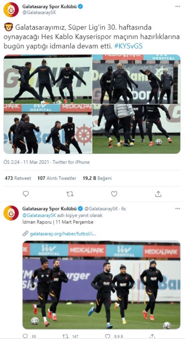 Galatasaray'ın idman paylaşımında Fatih Terim yer almadı