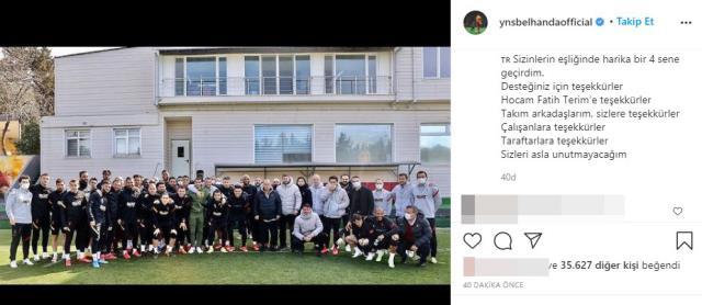 Belhanda, sosyal medyadan yaptığı paylaşımla takım arkadaşları ve teknik ekibe veda etti