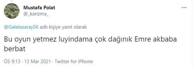 Emre Akbaba'nın performansı Galatasaraylı taraftarlardan tepki gördü