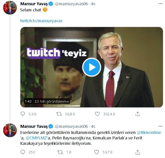 Mansur Yavaş'ın Twitch'de ilk yayını ne zaman olacak? Mansur Yavaş Twitch'de hangi yayıncının konuğu olacak? Yayın tarihi belli mi?