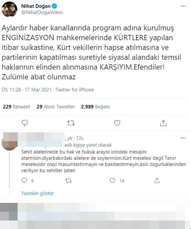 Nihat Doğan'ın HDP'nin kapatılmasına karşı çıktığı paylaşımına tepki yağdı
