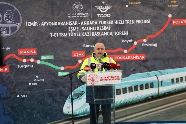 İzmir-Afyonkarahisar-Ankara YHT Projesi Eşme-Salihli Kesimi T1 Tüneli için kazı çalışmaları başladı