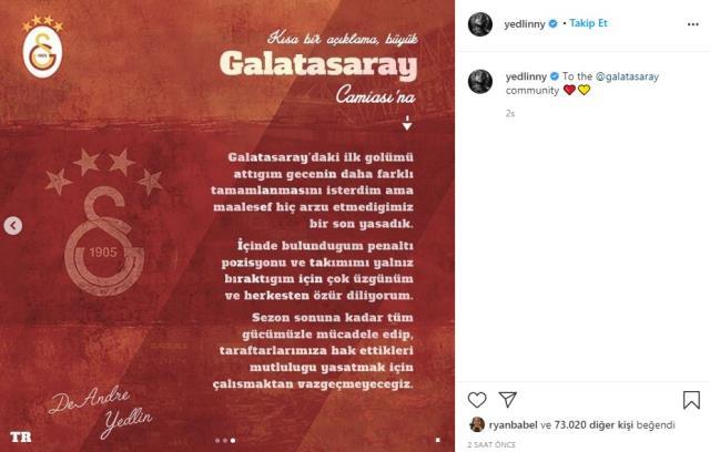 Galatasaray'da DeAndre Yedlin, Çaykur Rizespor maçı sonrası bir özür mesajı yayımladı