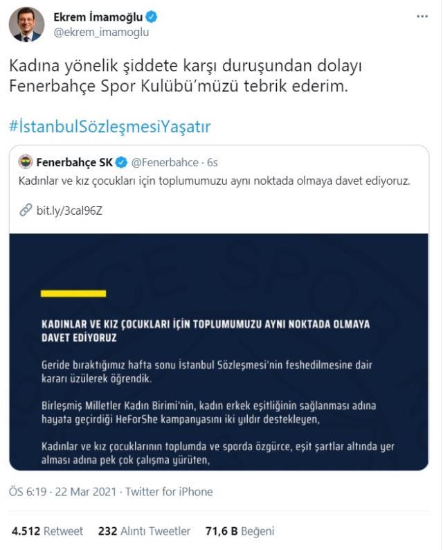 Ekrem İmamoğlu, Fenerbahçe'yi İstanbul Sözleşmesi'ne ilişkin yaptığı açıklama nedeniyle tebrik etti