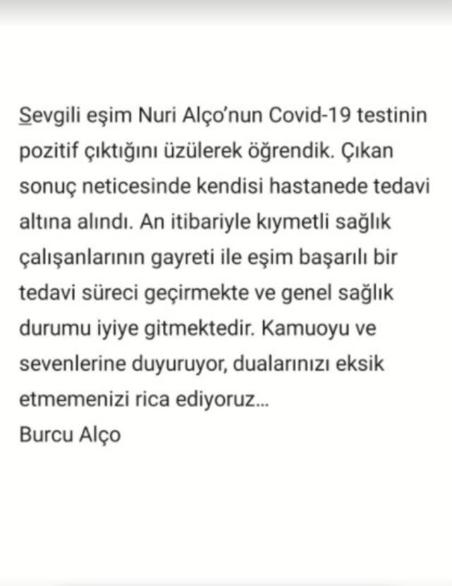Koronavirüse yakalanan Nuri Alço hastaneye kaldırıldı, eşi sevenlerinden dua istedi