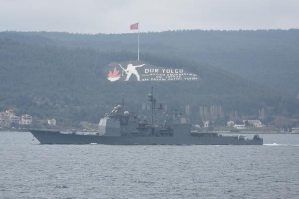 Son Dakika   ABD savaş gemisi'USS Monterey', Çanakkale Boğazı'ndan geçti